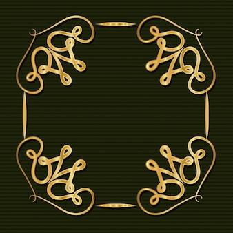 Gouden art decokader met ornament op groene achtergrond
