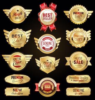 Gouden badge en etiketten retro vintage collectie