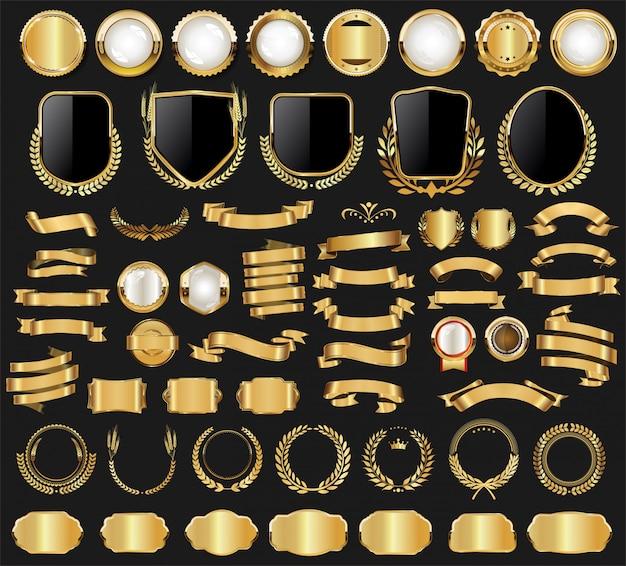 Gouden badge en labels retro vintage collectie