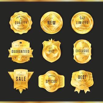 Gouden badge set met zwarte tekst geïsoleerd