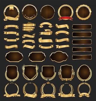 Gouden badges etiketten lauweren en linten collectie