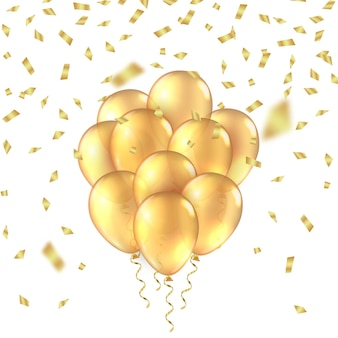 Gouden ballon achtergrond gouden realistische d ballonnen folie glitter mockup verjaardag achtergrond