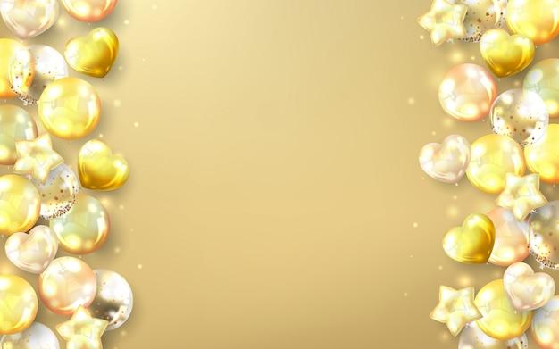 Gouden ballonnen achtergrond