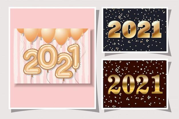 Gouden ballonnen in frames van gelukkig nieuwjaar