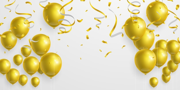 Gouden ballonnen, linten en confetti