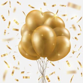 Gouden ballonnenbundel en vallende confetti.