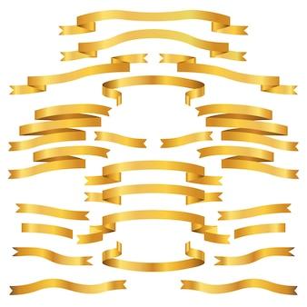 Gouden bannerlinten op een witte vector als achtergrond