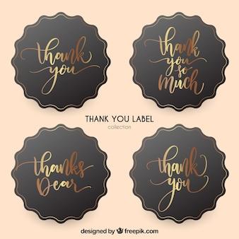 Gouden bedankt label collectie