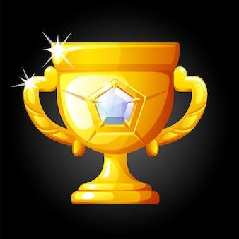 Gouden beker met witte diamant voor de overwinning. gouden onderscheiding voor de winnaar, kampioen.