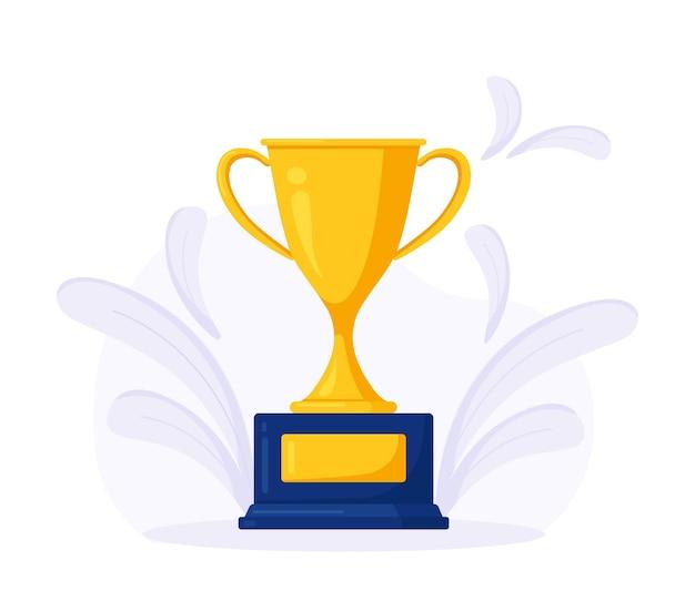 Gouden beker. trofeeprijs, prijs voor winnaar. gouden beker voor de eerste plaats. zakelijke of sportcompetitie
