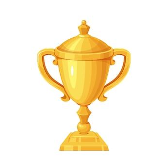 Gouden beker. winnaar eerste plaats, trofeebeker, sportprijs. geïsoleerde vector icoon van gouden kelk eerste plaats cartoon stijl.