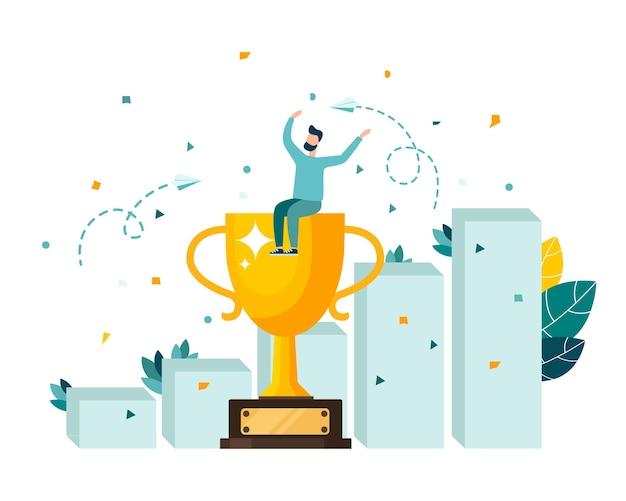 Gouden bekertrofee een symbool van overwinning het team viert de overwinning moderne vlakke stijl vector