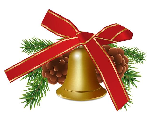 Gouden bel met dennentakken en rood striklint