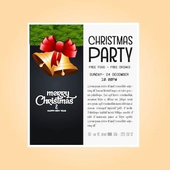 Gouden bellen kerstmisbanner & achtergrond