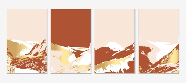 Gouden berg muur kunst vector set aardetinten landschappen achtergronden set met heuvel