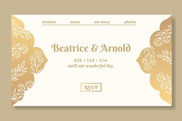 Gouden bestemmingspagina-sjabloon voor bruiloft