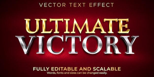 Gouden bewerkbaar teksteffect, metallic en glanzende tekststijl