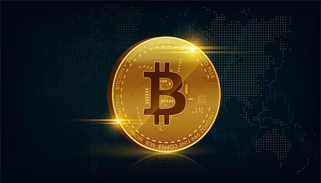 Gouden bitcoin blockchain-technologie 3d concept geschikt voor toekomstige technologiebanner of of dekking