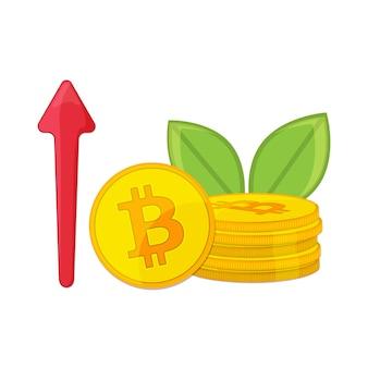 Gouden bitcoin-cryptovaluta en opwaartse lijnpijl