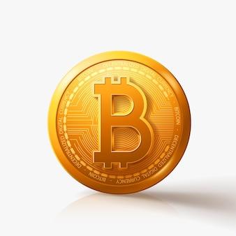 Gouden bitcoin munt op wit met schaduw