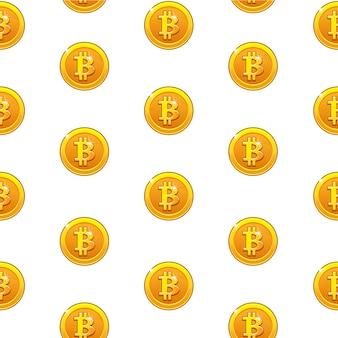 Gouden bitcoin munten naadloze patroon. digitale internet valuta, achtergrond