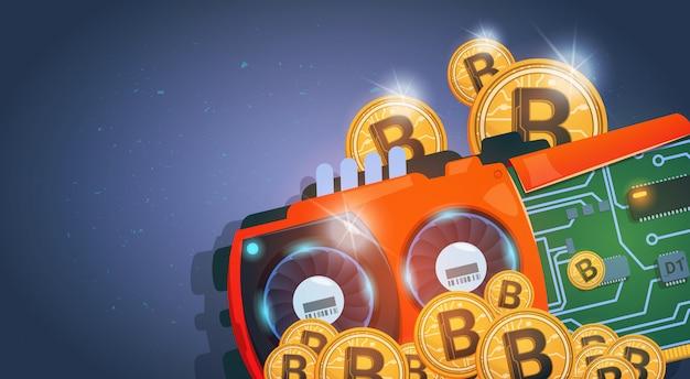 Gouden bitcoins-munten en chip curcuit digitale valuta moderne webgeld over donkerblauwe achtergrond