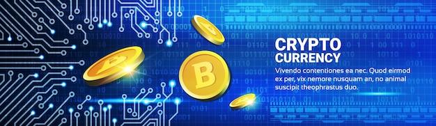 Gouden bitcoins over blue circuit achtergrond