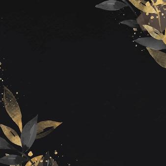 Gouden blad zwarte achtergrond sociale media wallpaper