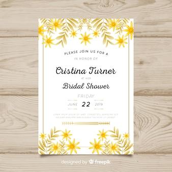 Gouden bladeren bruids douche kaartsjabloon