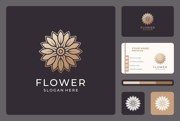 Gouden bloem, bloemen, natuur, schoonheid logo-ontwerp met visitekaartje.