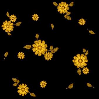 Gouden bloem borduurwerk naadloze patroon, mode decoratie