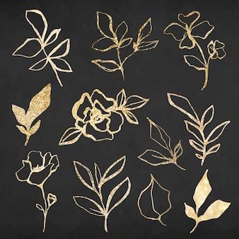 Gouden bloem hand getekende illustratie vector set, geremixt van vintage afbeeldingen uit het publieke domein