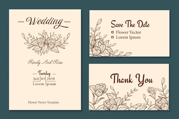 Gouden bloem lijntekeningen bruiloft uitnodiging decorontwerp