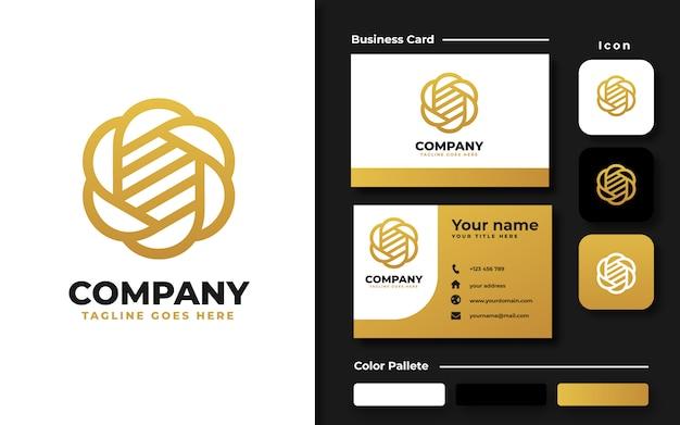 Gouden bloem logo sjabloon en visitekaartje