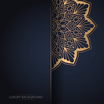 Gouden bloem mandala op donkere achtergrond