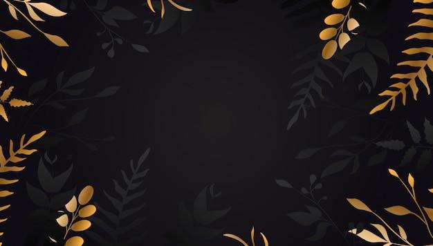 Gouden bloem op zwarte achtergrond