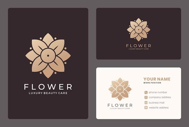 Gouden bloem, schoonheidsverzorging, cosmetica, salonlogo-ontwerp met sjabloon voor visitekaartjes.