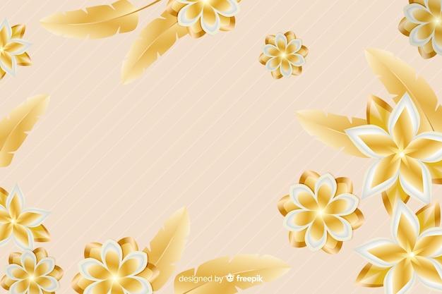 Gouden bloemachtergrond in 3d stijl