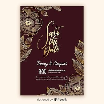 Gouden bloemen bruiloft uitnodiging sjabloon