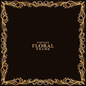 Gouden bloemen frame ontwerp stijlvolle achtergrond vector