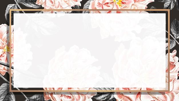 Gouden bloemen pioen frame behang vector