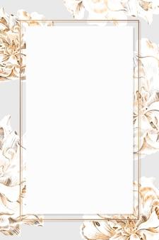 Gouden bloemen pioen frame vector