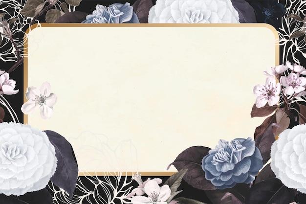 Gouden bloemen rechthoek frame vector vintage elegant