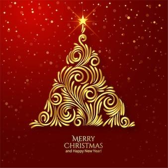 Gouden bloemen stijlvolle kerstboom kaart achtergrond
