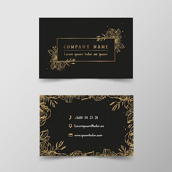 Gouden bloemen visitekaartje sjabloon set