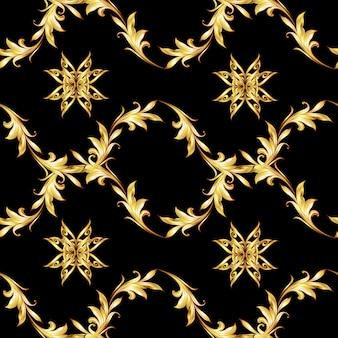 Gouden bloemen zwart naadloos patroon