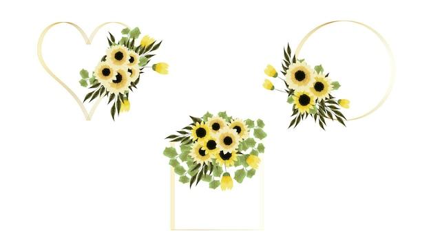 Gouden bloemenframe van gele bloemen in gedetailleerde stijl voor promoties van verkoopadvertenties op sociale media