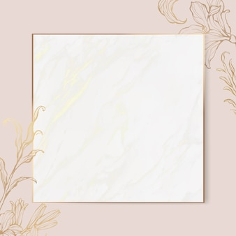 Gouden bloemenkader op marmeren achtergrond