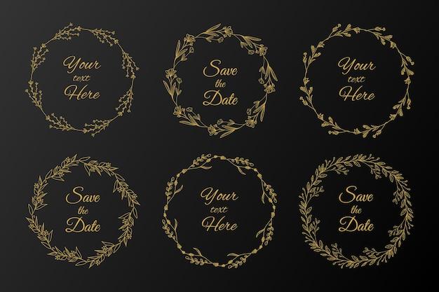Gouden bloemenkaderinzameling. hand getekend gouden bloemenrand
