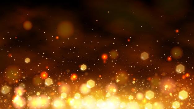 Gouden bokeh abstracte bannerachtergrond